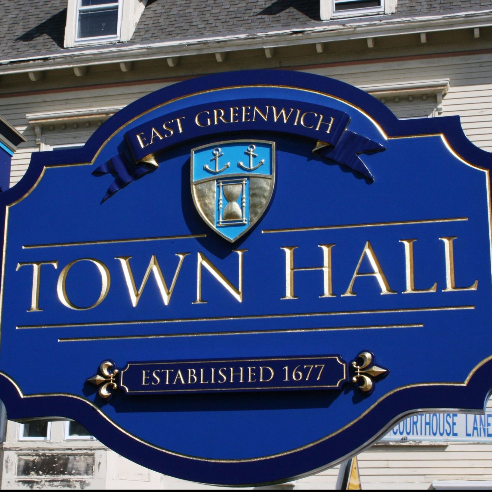 image of East Greenwich Town Hall Sign